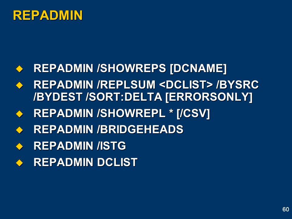 REPADMIN REPADMIN /SHOWREPS [DCNAME]